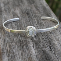 adjustable silver bracelet with moonstone detailing