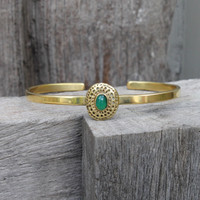 adjustable brass bracelet with green agate stone detailing