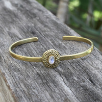 adjustable brass bracelet with moonstone detailing