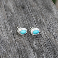 silver plated brass earrings with turquoise stone detailing