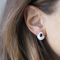 silver plated brass textured studs with a bold bezel and black onyx stone detail