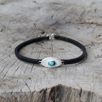 black leather bracelet with silver and turquoise detailing