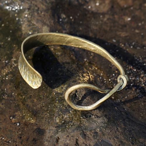 Brass cuff bracelet with twist detail