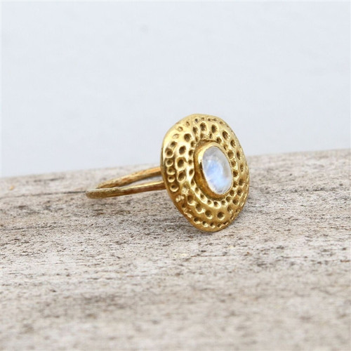 14 carat gold plated ring with moonstone detailing