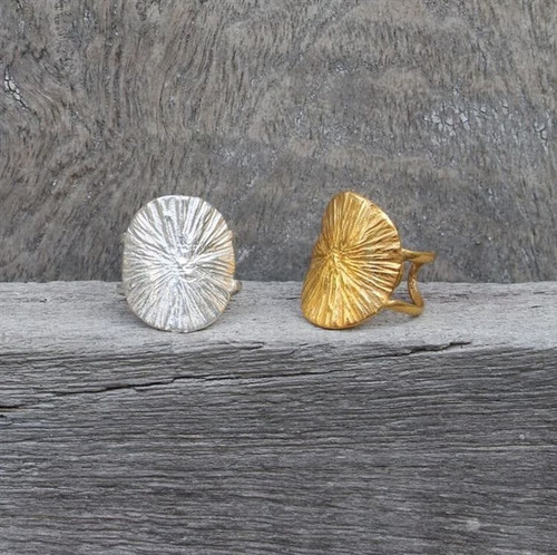 14 carat gold plated & sterling silver adjustable statement rings with radial texture