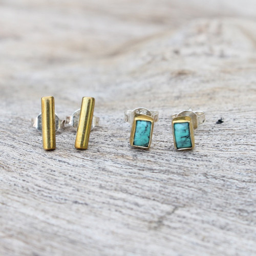 brass with turquoise