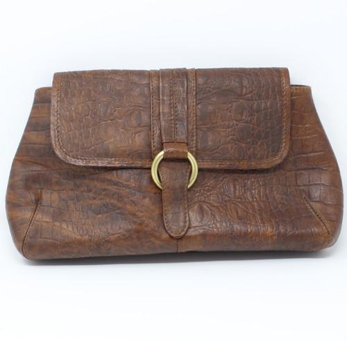 NEW - Crocodile Clutch Bag - Chocolate