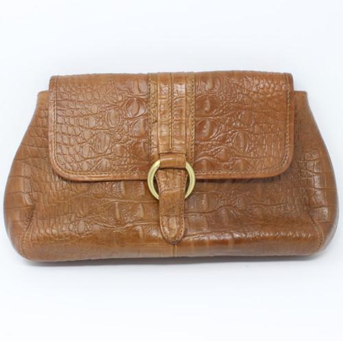 NEW - Crocodile Clutch Bag - Caramel