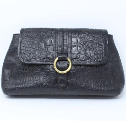 NEW - Crocodile Clutch Bag - Black