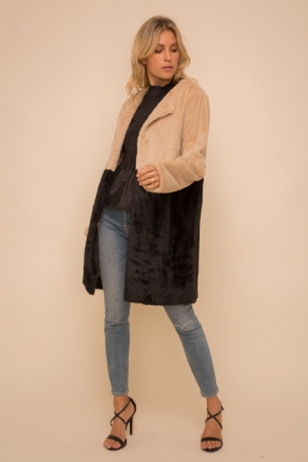 COLOR BLOCK FUR COAT
