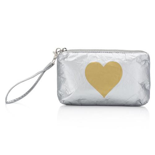 Wristlet Silver w Gold Heart