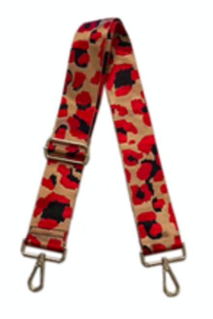 """2"""" Bag Strap Camel Red Leopard"""