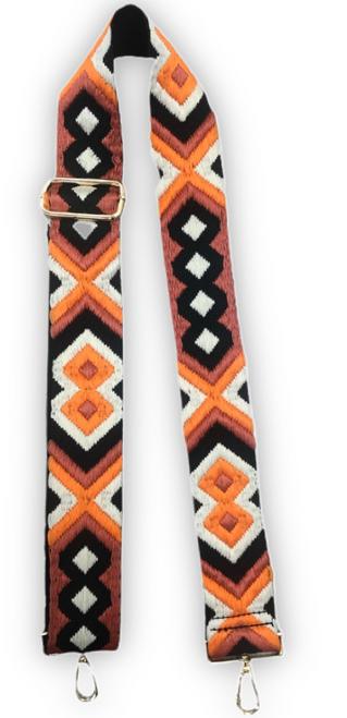 Aztec Bag Strap Cream Orange Black Aztec