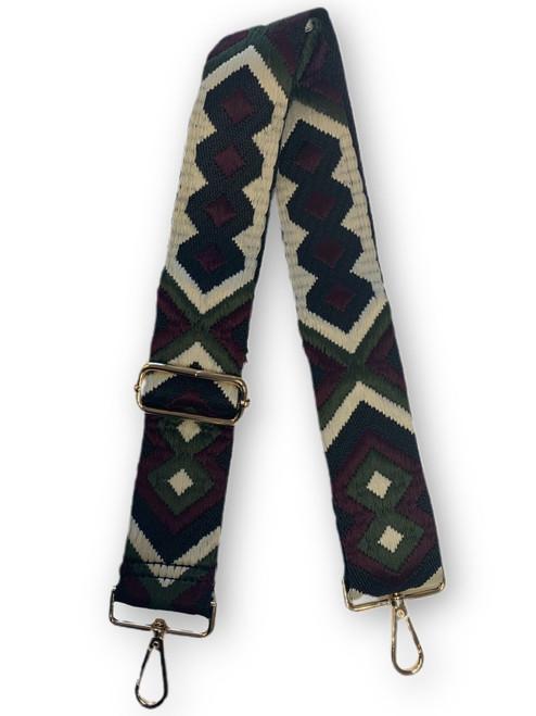 Aztec Bag Strap Green Cream Black Aztec