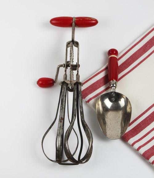 Vintage Hand Mixer and Scoop - Red Handle