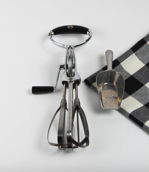 Vintage Hand Mixer Black Handle and Silver Scoop