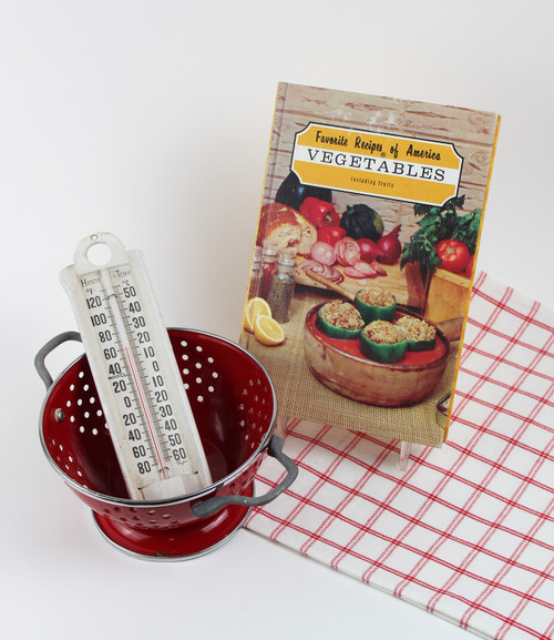 Garden Gift Bundle - Vegetable Cookbook, Red Strainer, Thermometer