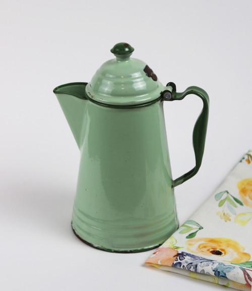 Green Enamel Coffee Pot - SOLD