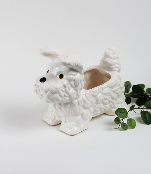 White Scottie Dog Planter