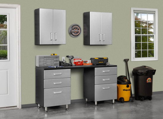 Tuff Stor Model 24210K 71 inch wide WorkBench with Six Sturdy Drawers and Two Overhead Cabinets
