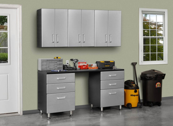 Tuff Stor Model 24211K 71 inch wide WorkBench with Six Sturdy Drawers and Three Overhead Cabinets
