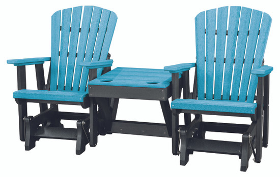 OS Home Model 515ARB-K Double Glider with Center Table in Aruba Blue and Black