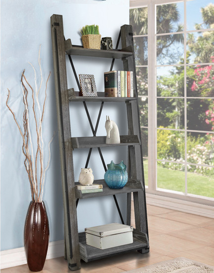OS Home and Office Furniture Mocel 33400 Industrial Open Ladder Bookcase in Washed Driftwood Finish
