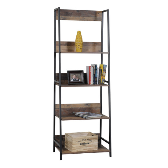 OS Home and Office Furniture Model 41105 Four Shelf Ladder Style Bookcase with Metal Uprights