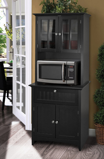 OS Home and Office Buffet and Hutch with Framed Glass Doors and Drawer in Black