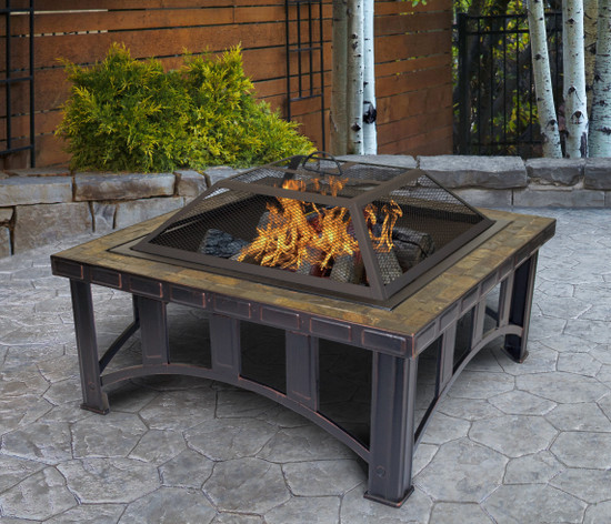 Outdoor Leisure Products 30 inch Square Steel Fire Pit with Decorative Slate Hearth and Oil Rubbed Bronze Finish