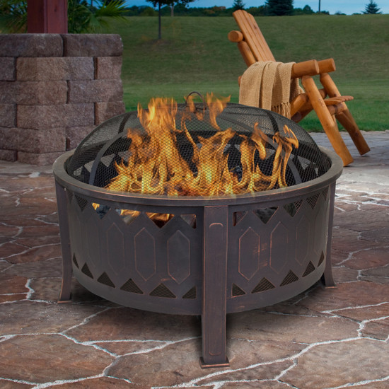 Outdoor Leisure Products 30 inch Round Fire Pit with Oil Rubbed Bronze Finish