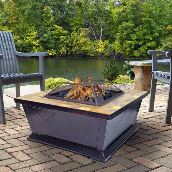 Outdoor Leisure Products 36 inch Square Steel Fire Pit with Decorative Slate Hearth and Oil Rubbed Bronze Finish
