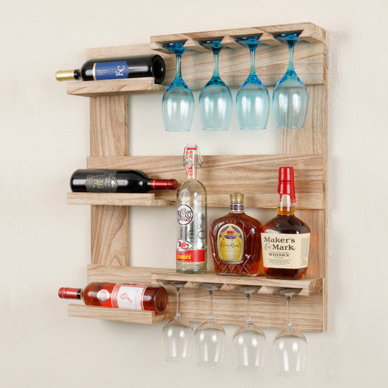 OS Home and Office Furniture Model 52002 Solid Wood Wall Mounted Wine and Stemware Display Cabinet in Distressed Natural finish
