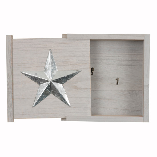 OS Home and Office Furniture Model 51003 Solid Wood Wall Hanging Decorative Cabinet with Hidden Compartment for Keys and other Small Items in Distressed Gray Finish