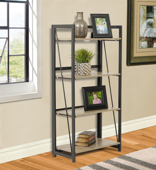 OS Home and Office Furniture Model 42244 No Tool Four Shelf Bookcase with Metal Legs and Sewn Oak Laminate Shelves