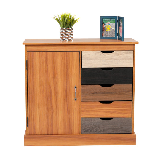 OS Home and Office Model 41000 Kylie Five Drawer Cabinet with Swinging Barn Style Door