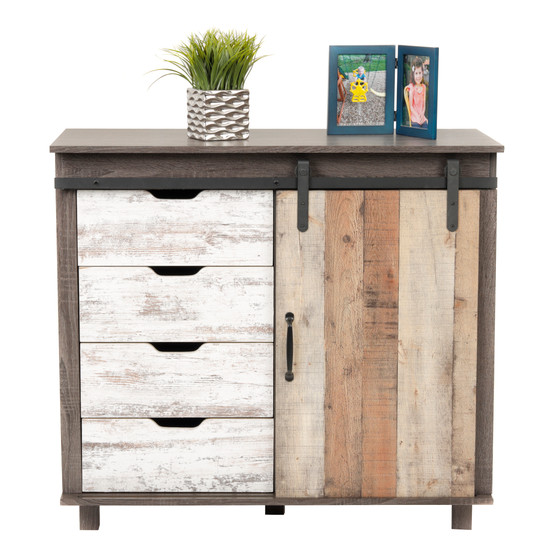 OS Home and Office Model 41001 Orden Four Drawer Cabinet with Sliding Barn Style Door