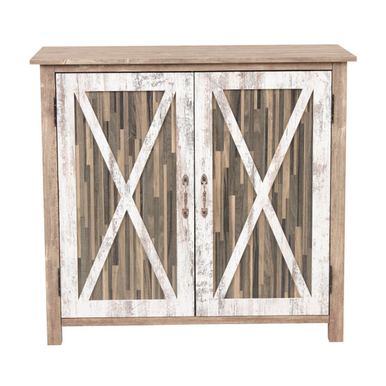 OS Home and Office Model 41002 Xandro Two Door Cabinet with Rustic Barn Style Doors