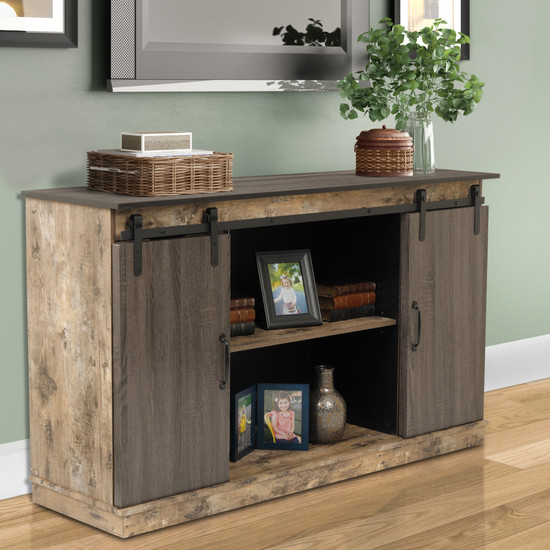 OS Home and Office Model 41003 Zion Six Drawer Storage Cabinet with Two Sliding Barn Style Doors