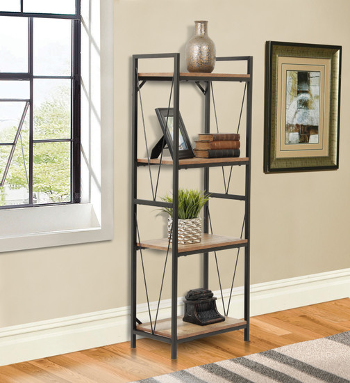 OS Home and Office Mountain Ridge Model 41411 Four Shelf Bookcase with Black Metal Uprights and Rustic Reclaimed Barnwood Laminate