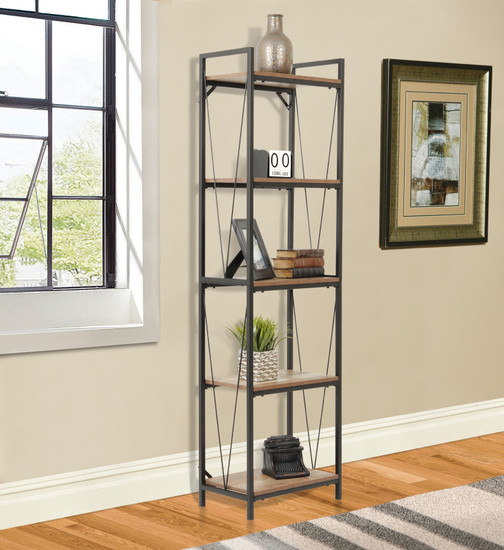 OS Home and Office Mountain Ridge Model 41412 Five Shelf Bookcase with Black Metal Uprights and Rustic Reclaimed Barnwood Laminate