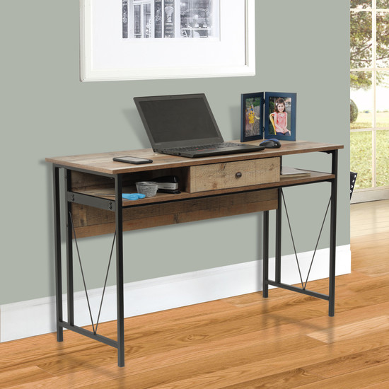 OS Home and Office Mountain Ridge Model 41413 Home Study Desk with One Drawer and Two Cubby Storage Shelves with Black Metal Uprights and Rustic Reclaimed Barnwood Laminate