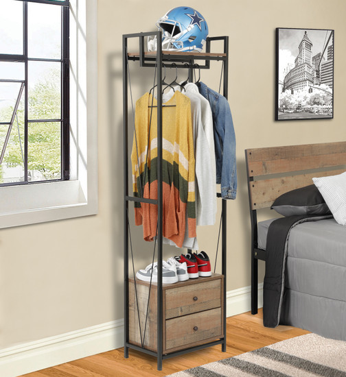 OS Home and Office Mountain Ridge Model 41414 Two Drawer Wadrobe Cabinet with Sturdy Clothing Hanger Rail and Black Metal Uprights and Rustic Reclaimed Barnwood Laminate