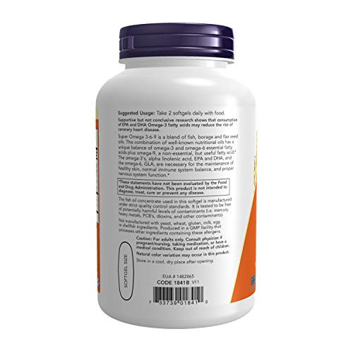 NOW Supplements, Super Omega 3-6-9 1200 mg with a blend of Fish, Borage and Flax Seed Oils, 180 Softgels