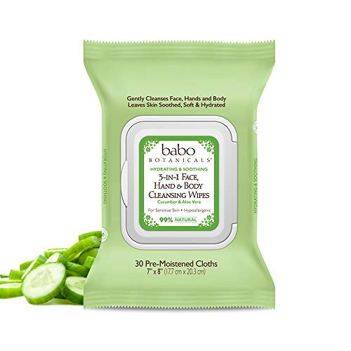 Babo Botanicals Swim & Sport 3-in-1 Face, Hand & Body Wipes with Natural Cucumber and Aloe Vera, Cucumber Aloe, 30 Count