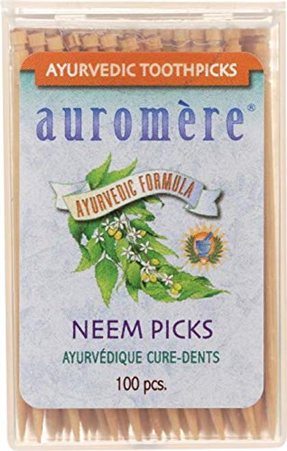 Auromere Ayurvedic Neem Toothpicks - Vegan, Natural, Non GMO, Made from Birchwood (100 Count), 12 Pack