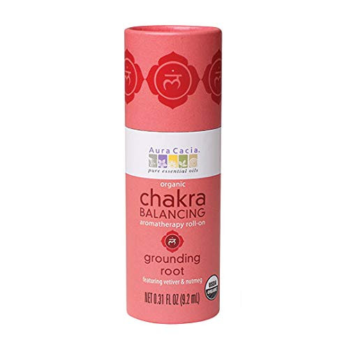 Aura Cacia Grounding Root Chakra Roll-On | Organic | GC/MS Tested for Purity | 9.2 ml (0.31 fl. oz.)
