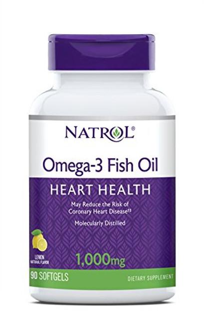 Natrol Omega-3 Purified Fish Oil 1,000mg, 90 Softgels (Pack of 4)