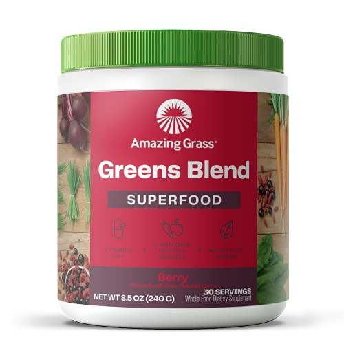 Amazing Grass Green Superfood: Super Greens Powder with Spirulina, Chlorella, Digestive Enzymes & Probiotics, Berry, 30 Servings - 8.5ozBGS