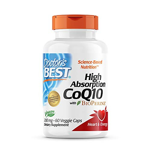 Doctor's Best High Absorption CoQ10 with BioPerine Gluten Free Naturally Fermented Vegan, Heart Health and Energy Production 200 mg 60 Veggie Caps, White